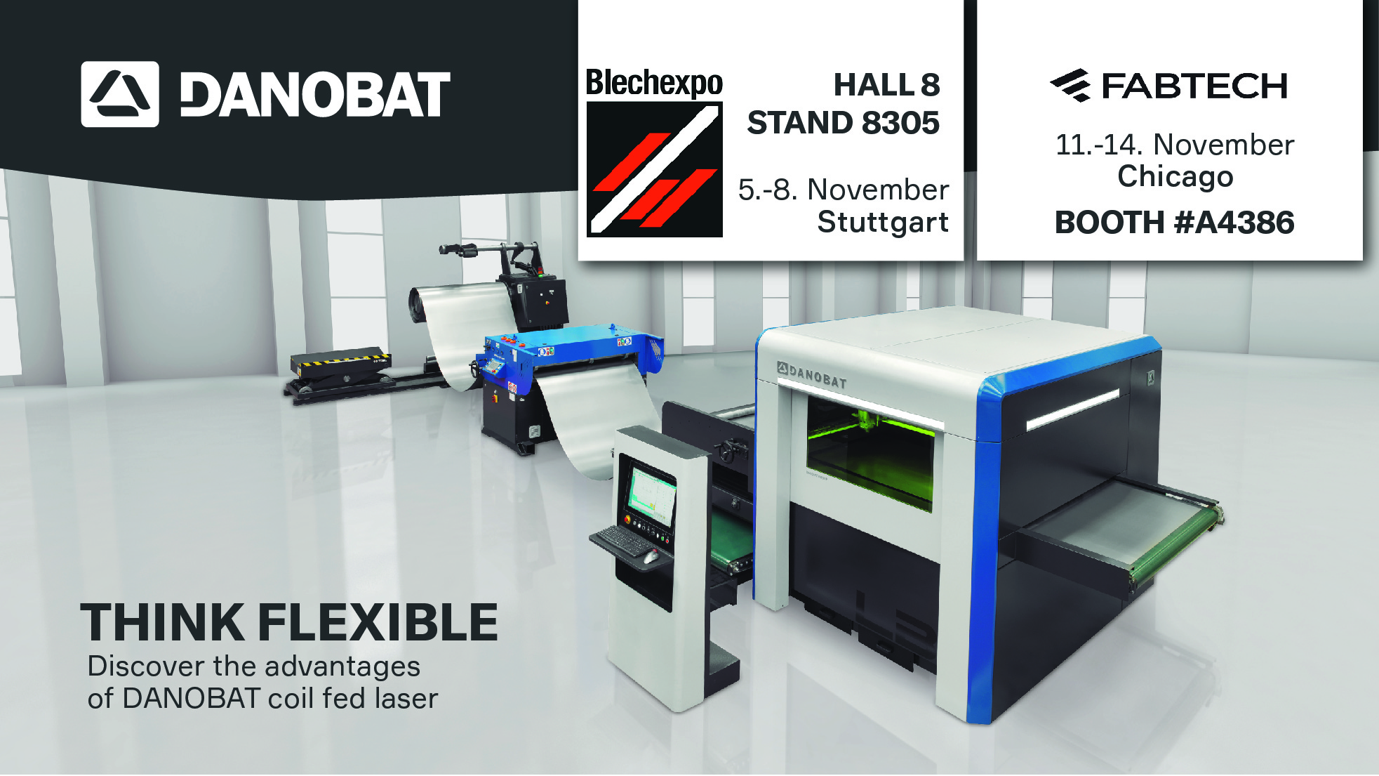 Flexibility, digitalization and a new programming software are the main proposals of Danobatgroup's Sheet Metal Division at BLECHEXPO and FABTECH exhibitions