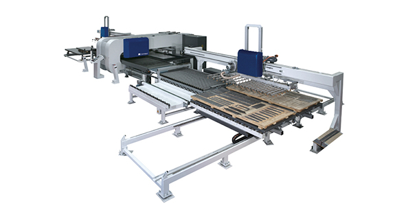 Flexible coil fed punching and shearing system with adapted automation