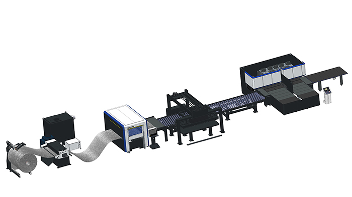 Integration in flexible line of a coil fed laser cutting machine